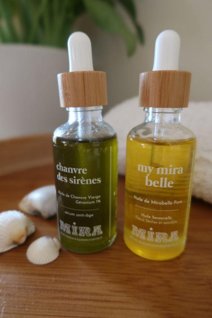 Huile de chanvre vierge et huile de mirabelle pure